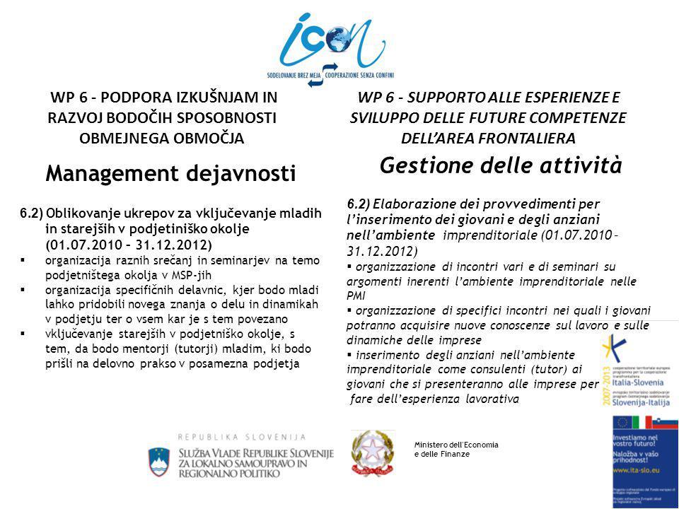 Management dejavnosti 6.2) Oblikovanje ukrepov za vključevanje mladih in starejših v podjetiniško okolje (01.07.2010 – 31.12.2012)  organizacija raznih srečanj in seminarjev na temo podjetništega okolja v MSP-jih  organizacija specifičnih delavnic, kjer bodo mladi lahko pridobili novega znanja o delu in dinamikah v podjetju ter o vsem kar je s tem povezano  vključevanje starejših v podjetniško okolje, s tem, da bodo mentorji (tutorji) mladim, ki bodo prišli na delovno prakso v posamezna podjetja Gestione delle attività 6.2) Elaborazione dei provvedimenti per l'inserimento dei giovani e degli anziani nell'ambiente imprenditoriale (01.07.2010 – 31.12.2012)  organizzazione di incontri vari e di seminari su argomenti inerenti l'ambiente imprenditoriale nelle PMI  organizzazione di specifici incontri nei quali i giovani potranno acquisire nuove conoscenze sul lavoro e sulle dinamiche delle imprese  inserimento degli anziani nell'ambiente imprenditoriale come consulenti (tutor) ai giovani che si presenteranno alle imprese per fare dell'esperienza lavorativa Ministero dell Economia e delle Finanze WP 6 - SUPPORTO ALLE ESPERIENZE E SVILUPPO DELLE FUTURE COMPETENZE DELL'AREA FRONTALIERA WP 6 - PODPORA IZKUŠNJAM IN RAZVOJ BODOČIH SPOSOBNOSTI OBMEJNEGA OBMOČJA