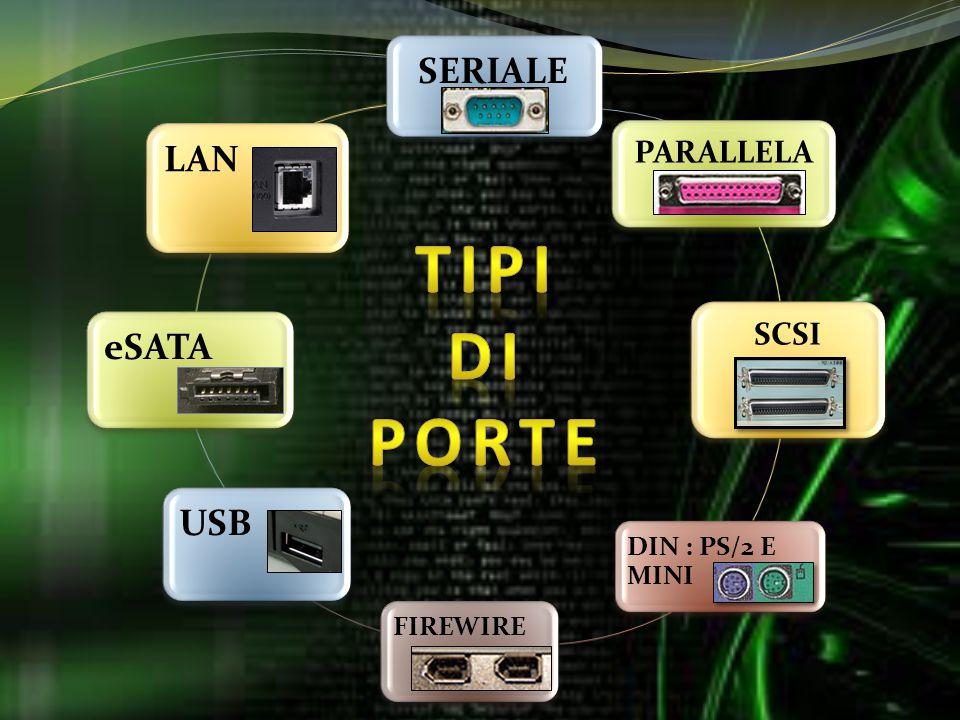 SERIALE PARALLELA SCSI DIN : PS/2 E MINI FIREWIRE USB eSATA LAN