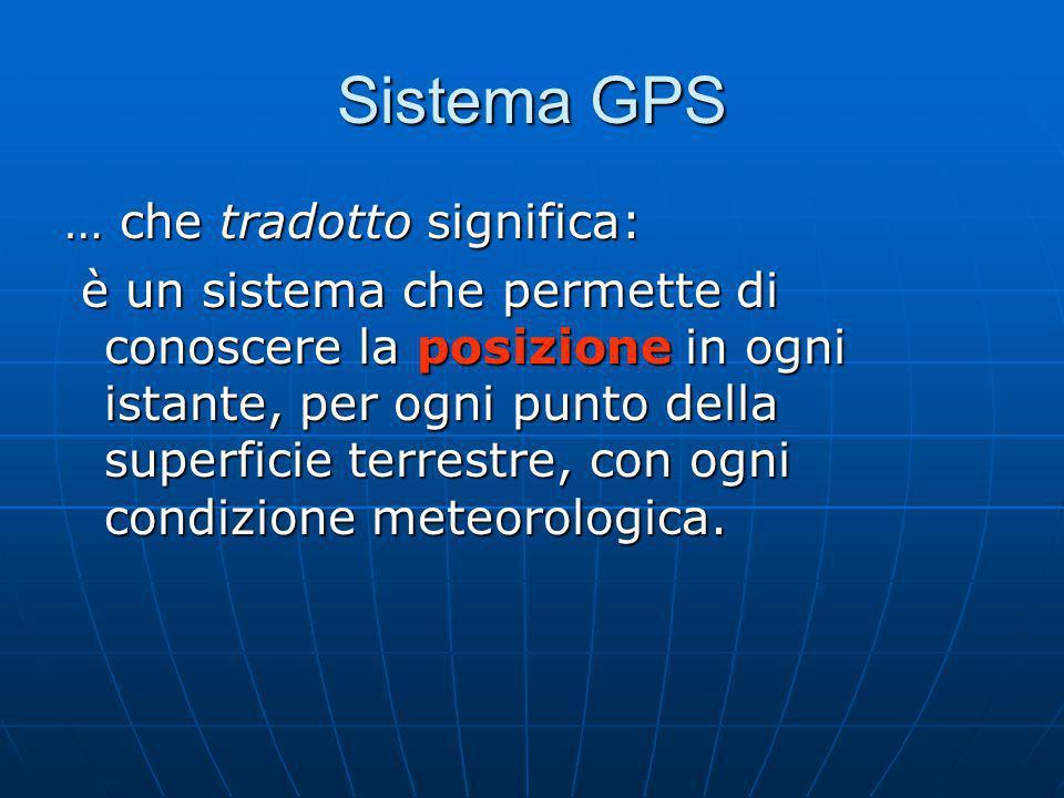Sistema GPS … che tradotto significa: è un sistema che permette di conoscere la posizione in ogni istante, per ogni punto della superficie terrestre, con ogni condizione meteorologica.