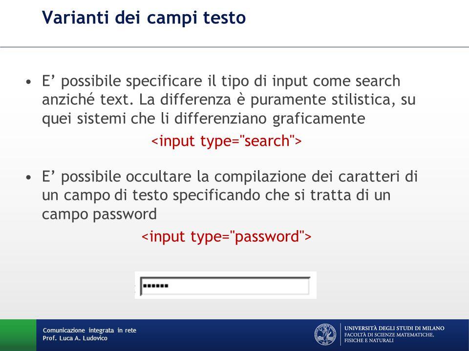 Comunicazione integrata in rete Prof. Luca A. Ludovico Varianti dei campi testo E' possibile specificare il tipo di input come search anziché text. La