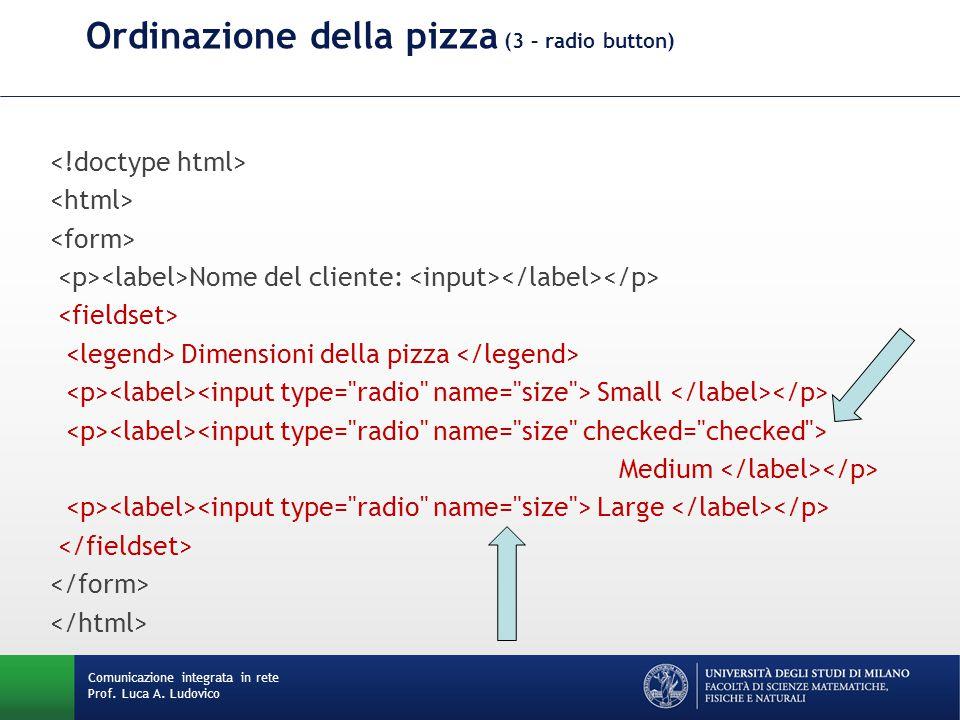 Comunicazione integrata in rete Prof. Luca A. Ludovico Ordinazione della pizza (3 – radio button) Nome del cliente: Dimensioni della pizza Small Mediu