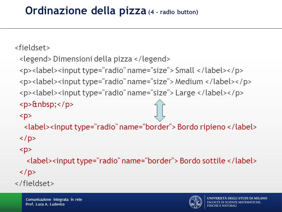 Comunicazione integrata in rete Prof. Luca A. Ludovico Ordinazione della pizza (4 – radio button) Dimensioni della pizza Small Medium Large Bordo ripi