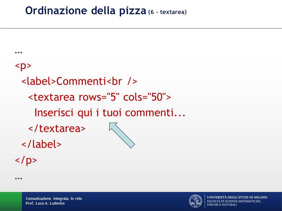 Comunicazione integrata in rete Prof. Luca A. Ludovico Ordinazione della pizza (6 – textarea) … Commenti Inserisci qui i tuoi commenti... …
