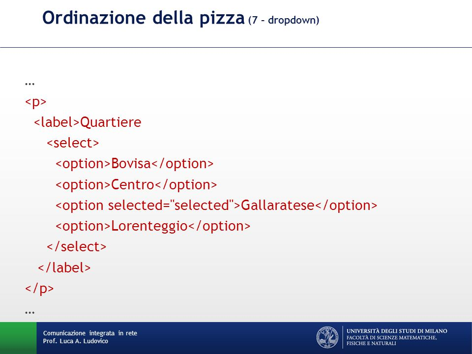 Comunicazione integrata in rete Prof. Luca A. Ludovico Ordinazione della pizza (7 – dropdown) … Quartiere Bovisa Centro Gallaratese Lorenteggio …