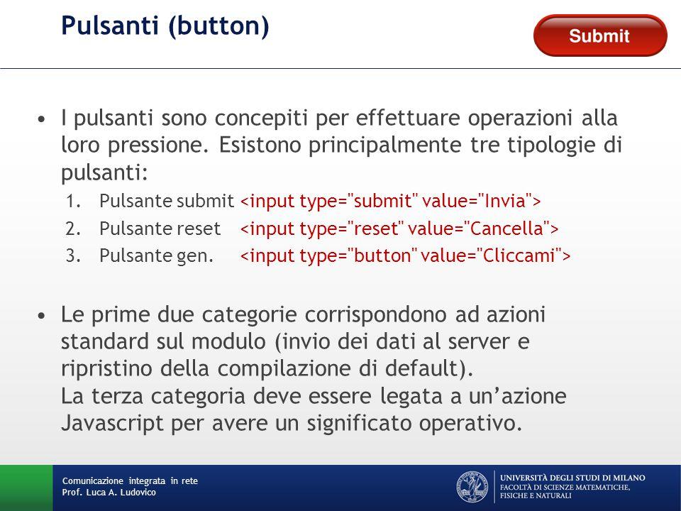 Comunicazione integrata in rete Prof. Luca A. Ludovico Pulsanti (button) I pulsanti sono concepiti per effettuare operazioni alla loro pressione. Esis