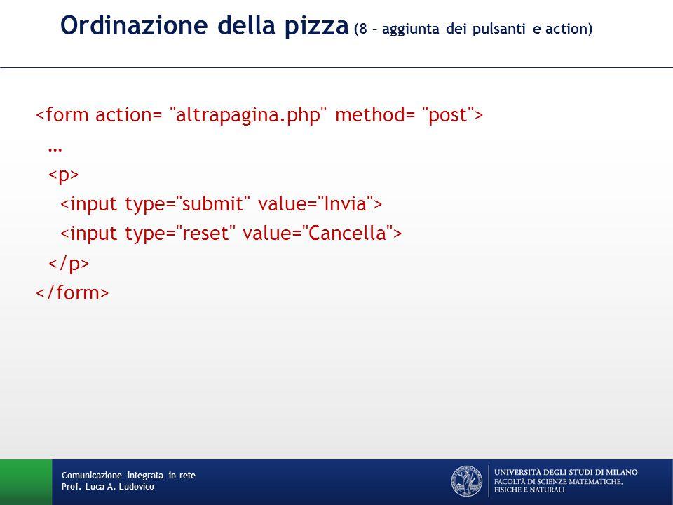 Comunicazione integrata in rete Prof. Luca A. Ludovico Ordinazione della pizza (8 – aggiunta dei pulsanti e action) …
