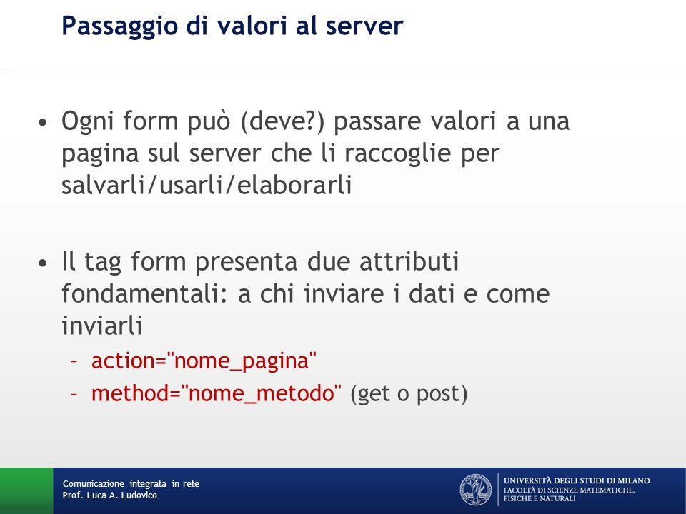 Comunicazione integrata in rete Prof. Luca A. Ludovico Passaggio di valori al server Ogni form può (deve?) passare valori a una pagina sul server che