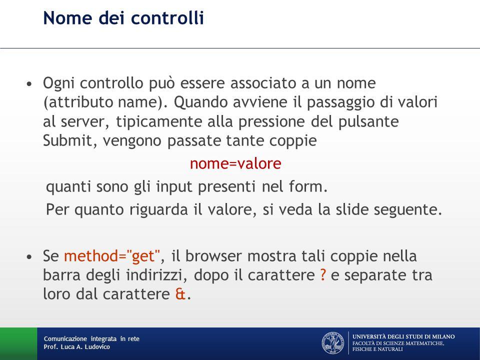 Comunicazione integrata in rete Prof. Luca A. Ludovico Nome dei controlli Ogni controllo può essere associato a un nome (attributo name). Quando avvie