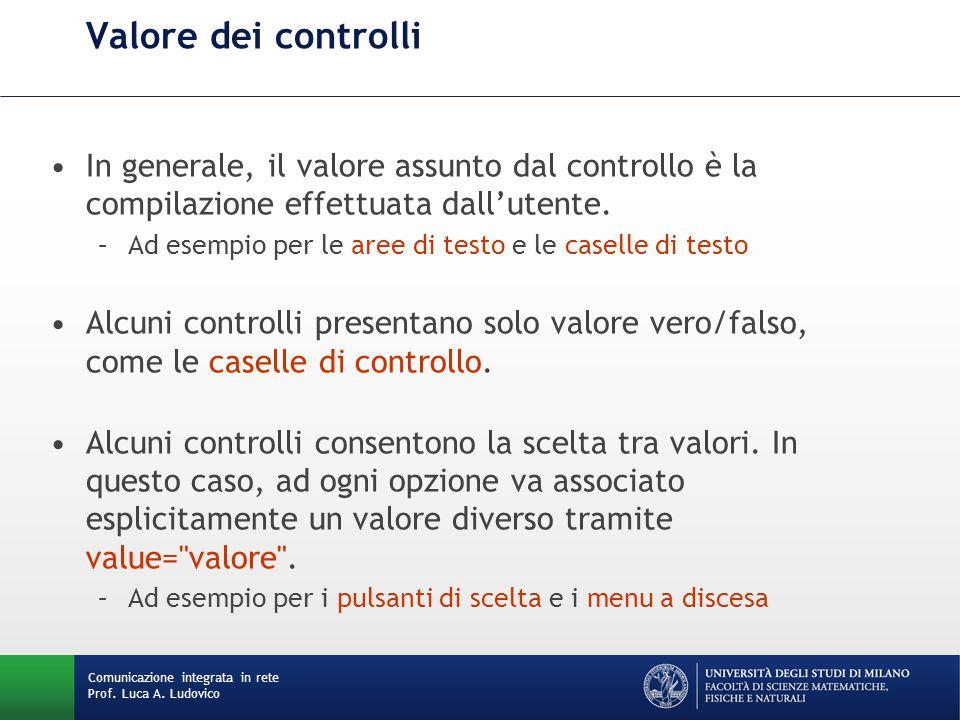 Comunicazione integrata in rete Prof. Luca A. Ludovico Valore dei controlli In generale, il valore assunto dal controllo è la compilazione effettuata