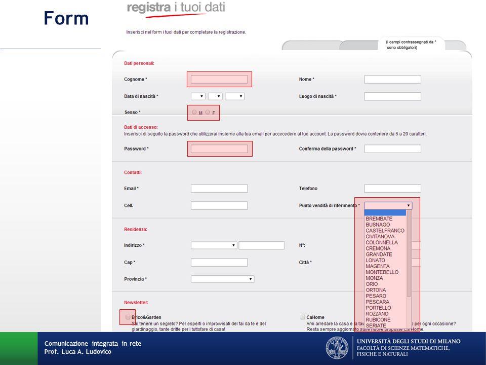 Comunicazione integrata in rete Prof. Luca A. Ludovico Form