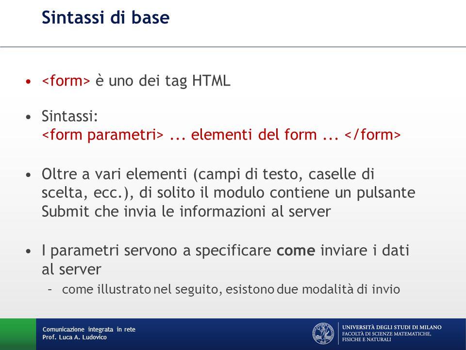 Comunicazione integrata in rete Prof. Luca A. Ludovico Sintassi di base è uno dei tag HTML Sintassi:... elementi del form... Oltre a vari elementi (ca
