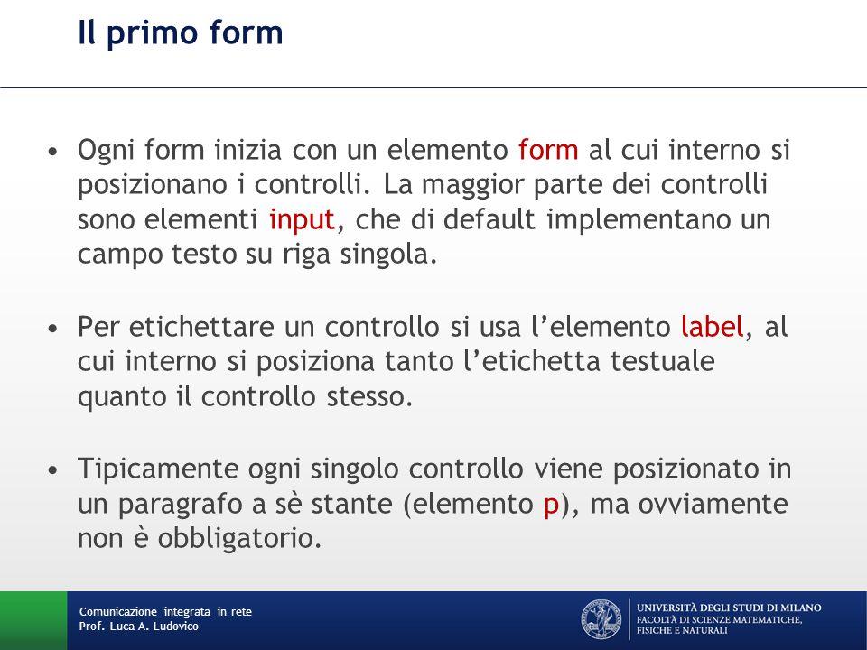Comunicazione integrata in rete Prof. Luca A. Ludovico Il primo form Ogni form inizia con un elemento form al cui interno si posizionano i controlli.
