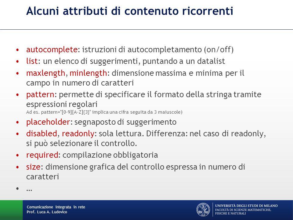 Comunicazione integrata in rete Prof. Luca A. Ludovico Alcuni attributi di contenuto ricorrenti autocomplete: istruzioni di autocompletamento (on/off)