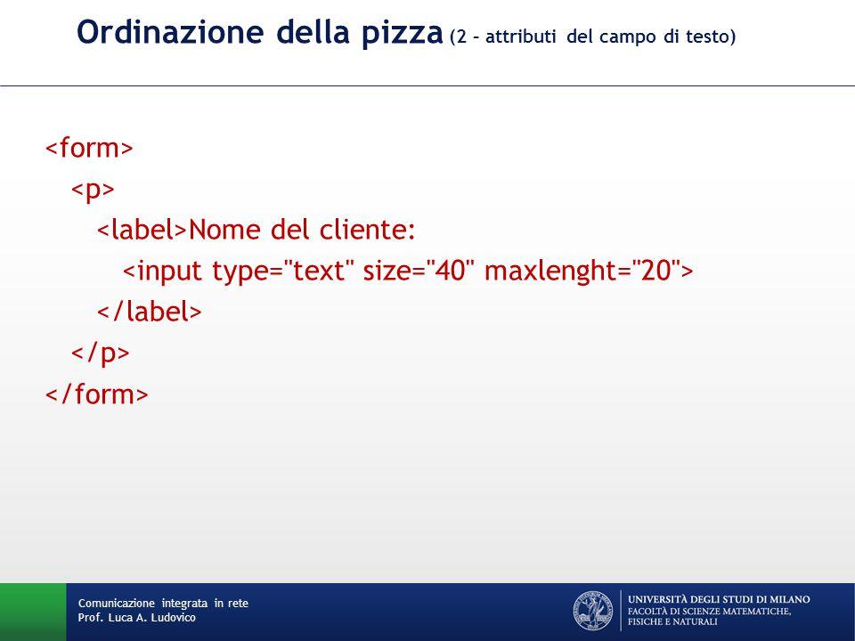 Comunicazione integrata in rete Prof. Luca A. Ludovico Ordinazione della pizza (2 – attributi del campo di testo) Nome del cliente: