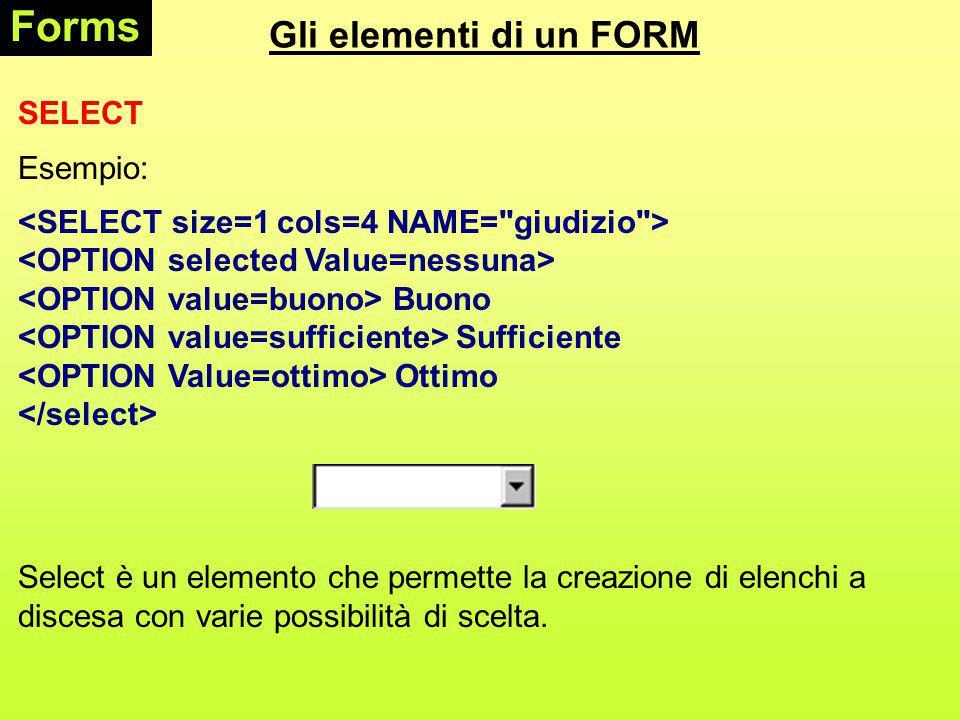 Gli elementi di un FORM Forms SELECT Esempio: Buono Sufficiente Ottimo Select è un elemento che permette la creazione di elenchi a discesa con varie possibilità di scelta.