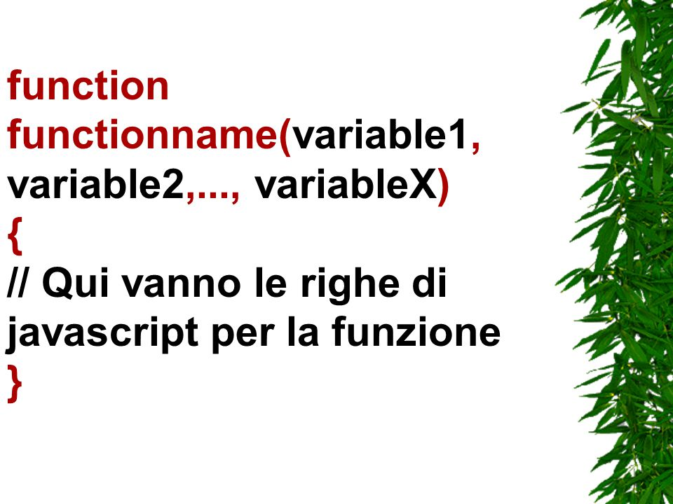 function functionname(variable1, variable2,..., variableX) { // Qui vanno le righe di javascript per la funzione }