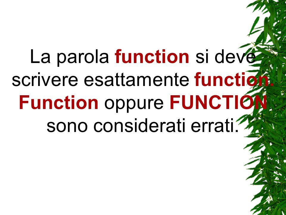 Oltretutto, l uso delle maiuscole è importante anche nel nome della funzione.