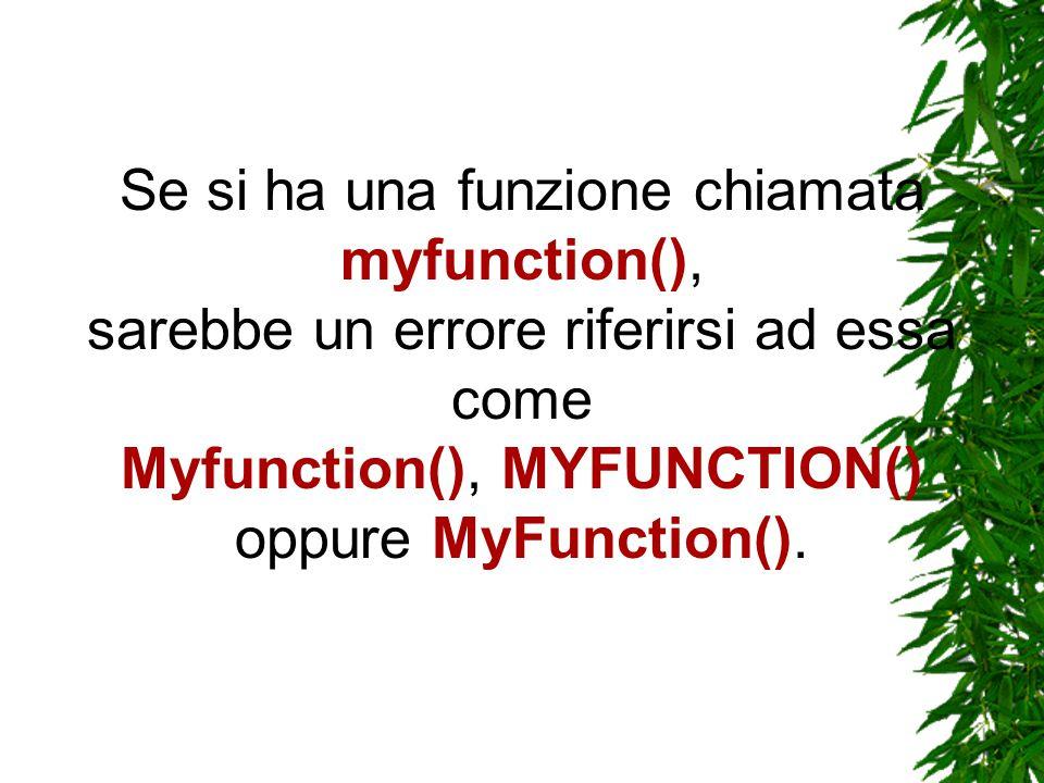 Se si ha una funzione chiamata myfunction(), sarebbe un errore riferirsi ad essa come Myfunction(), MYFUNCTION() oppure MyFunction().