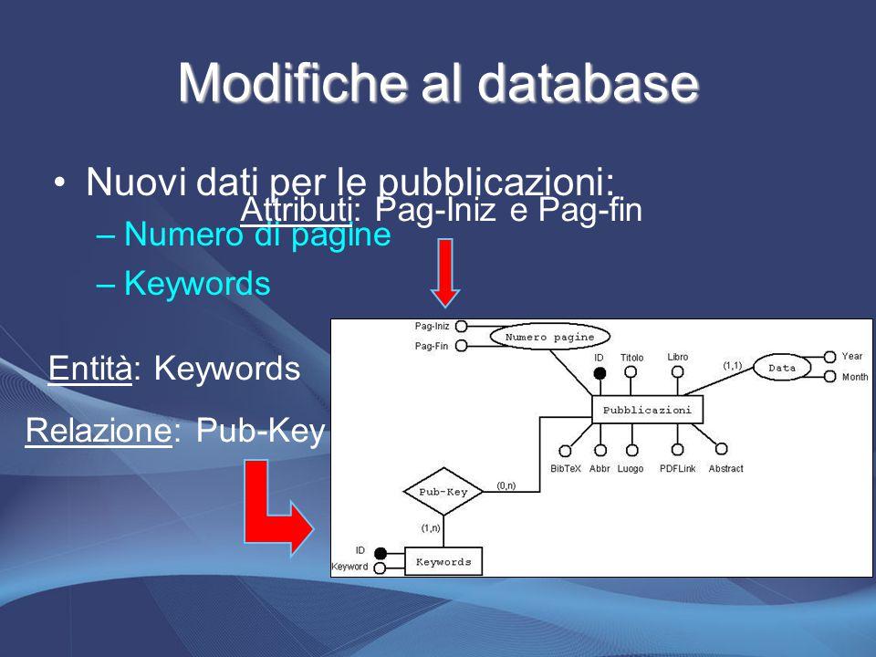 Modifiche al database Nuovi dati per le pubblicazioni: –N–Numero di pagine –K–Keywords Attributi: Pag-Iniz e Pag-fin Entità: Keywords Relazione: Pub-Key