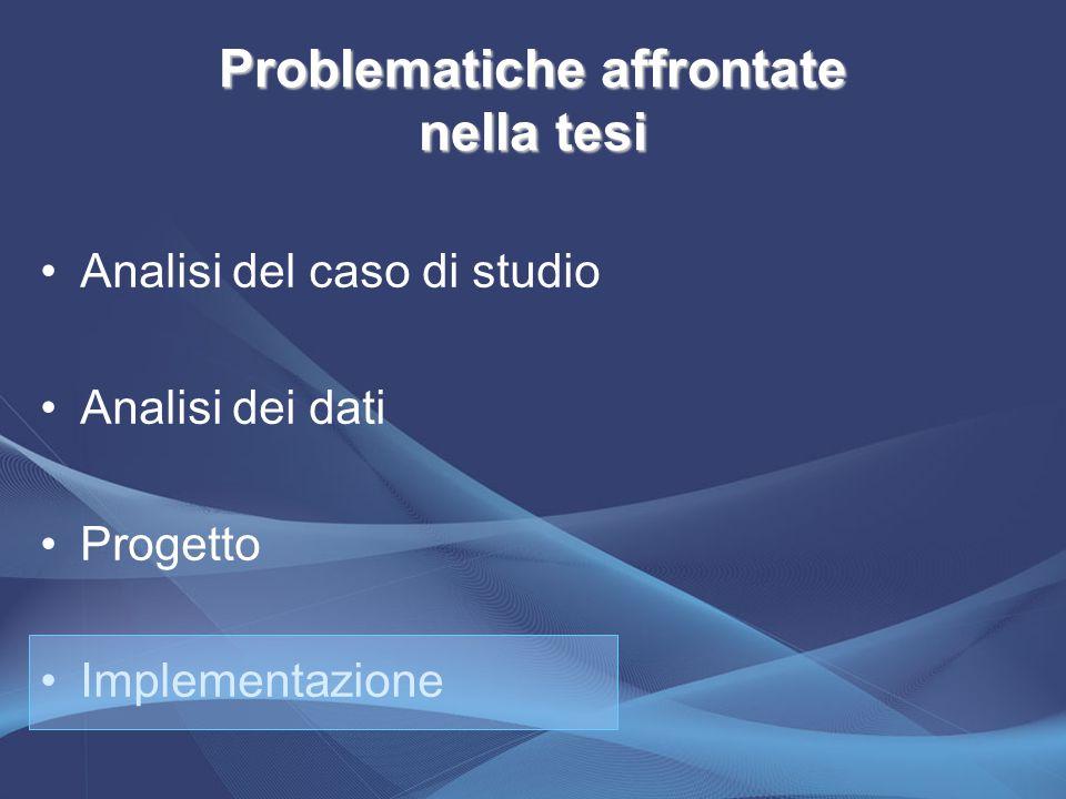 Problematiche affrontate nella tesi Analisi del caso di studio Analisi dei dati Progetto Implementazione