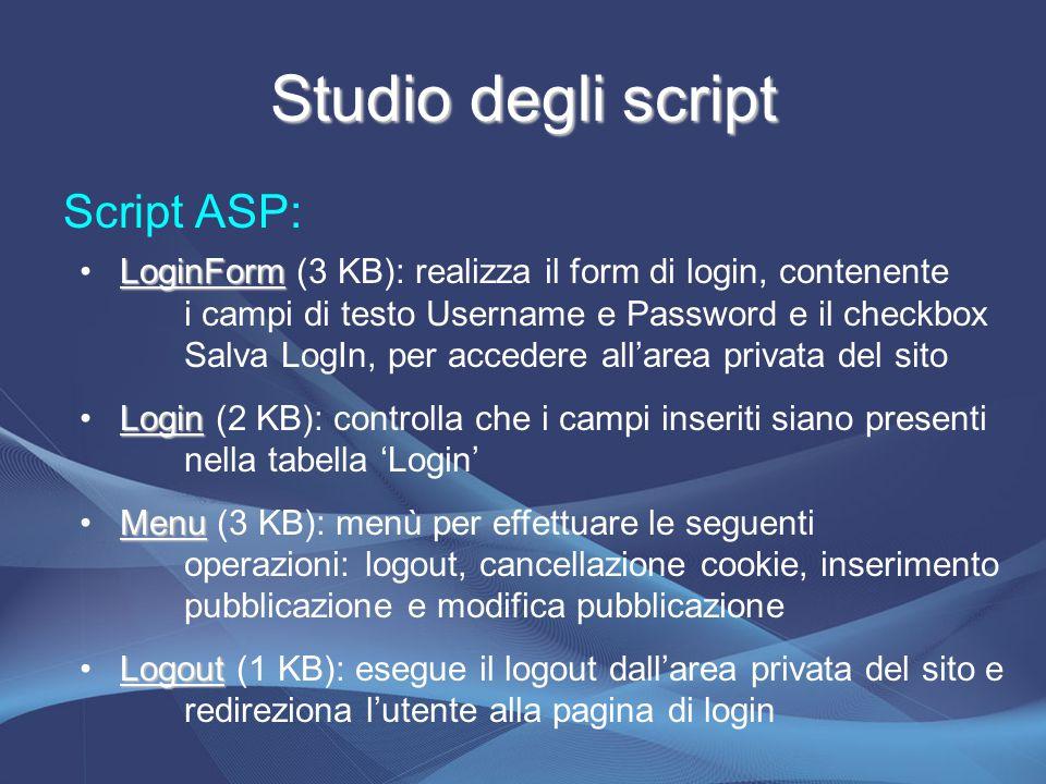 Studio degli script Script ASP: LoginForm LoginForm (3 KB): realizza il form di login, contenente i campi di testo Username e Password e il checkbox Salva LogIn, per accedere all'area privata del sito Login Login (2 KB): controlla che i campi inseriti siano presenti nella tabella 'Login' Menu Menu (3 KB): menù per effettuare le seguenti operazioni: logout, cancellazione cookie, inserimento pubblicazione e modifica pubblicazione Logout Logout (1 KB): esegue il logout dall'area privata del sito e redireziona l'utente alla pagina di login