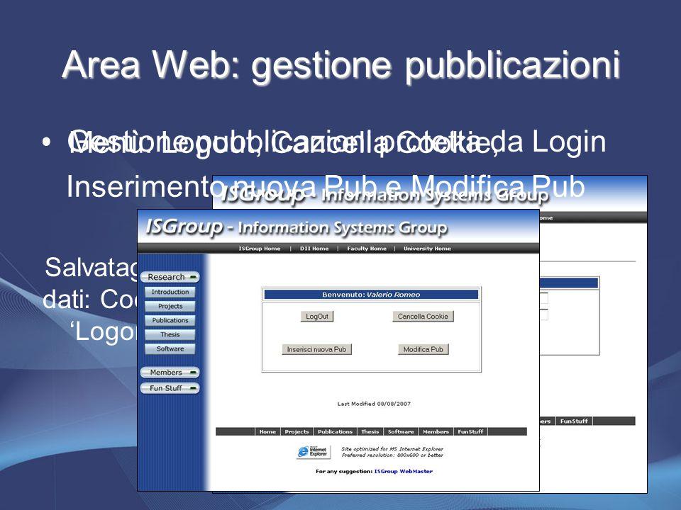 Area Web: gestione pubblicazioni Gestione pubblicazioni protetta da Login Salvataggio dati: Cookie 'Logon' Menù: Logout, Cancella Cookie, Inserimento nuova Pub e Modifica Pub