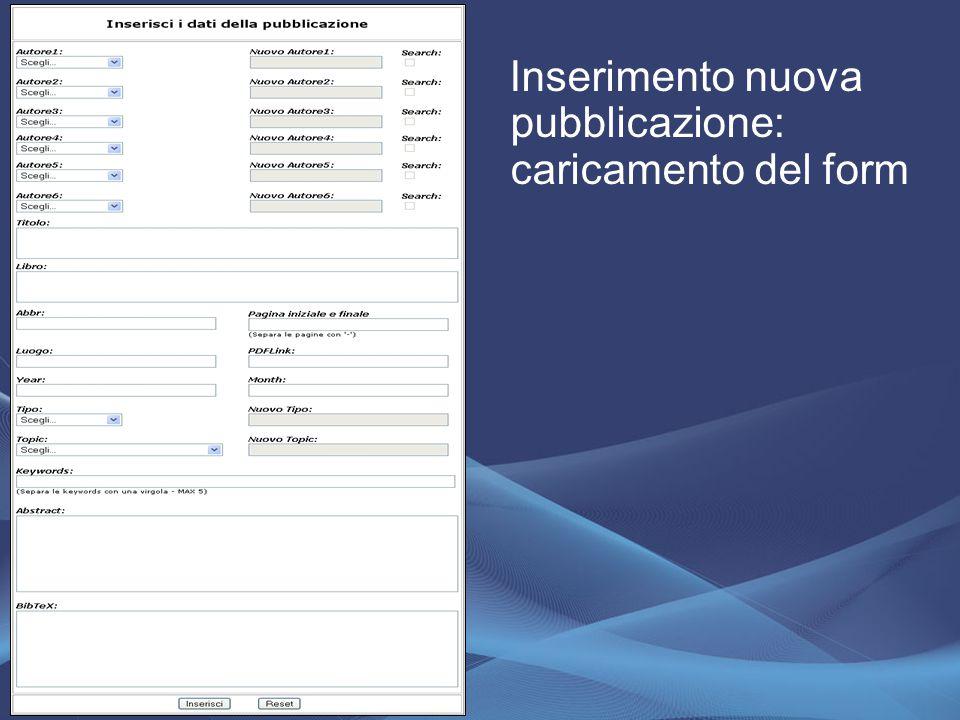 Inserimento nuova pubblicazione: caricamento del form