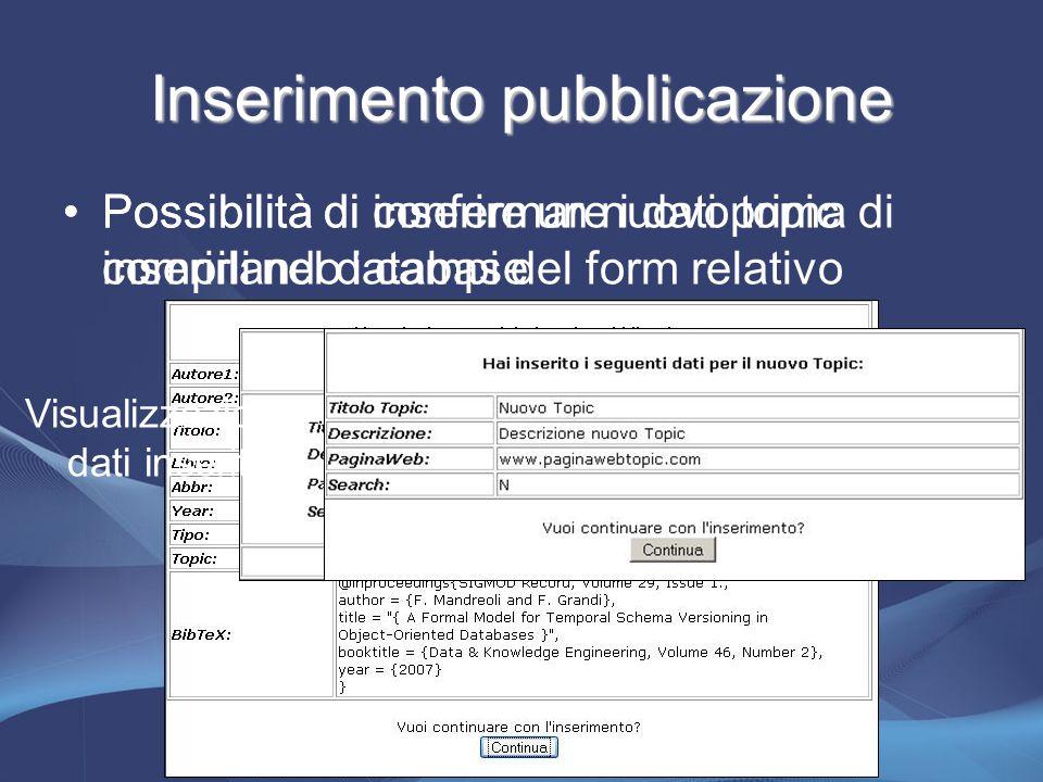 Inserimento pubblicazione Possibilità di confermare i dati prima di inserirli nel database Possibilità di inserire un nuovo topic compilando i campi del form relativo Visualizzazione dati inseriti