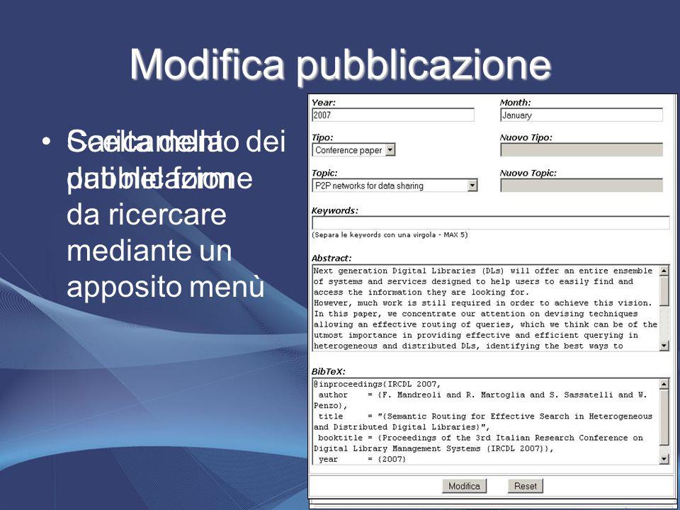 Modifica pubblicazione Scelta della pubblicazione da ricercare mediante un apposito menù Caricamento dei dati nel form