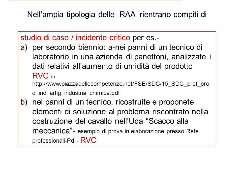 Nell'ampia tipologia delle RAA rientrano compiti di studio di caso / incidente critico per es.- a)per secondo biennio: a-nei panni di un tecnico di la