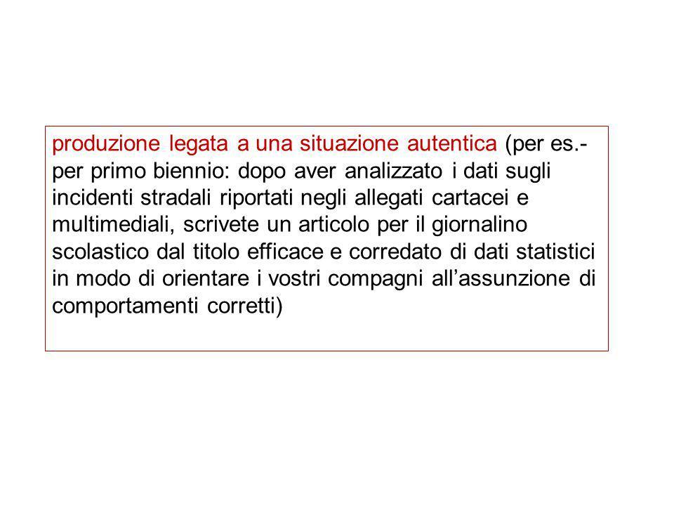 produzione legata a una situazione autentica (per es.- per primo biennio: dopo aver analizzato i dati sugli incidenti stradali riportati negli allegat