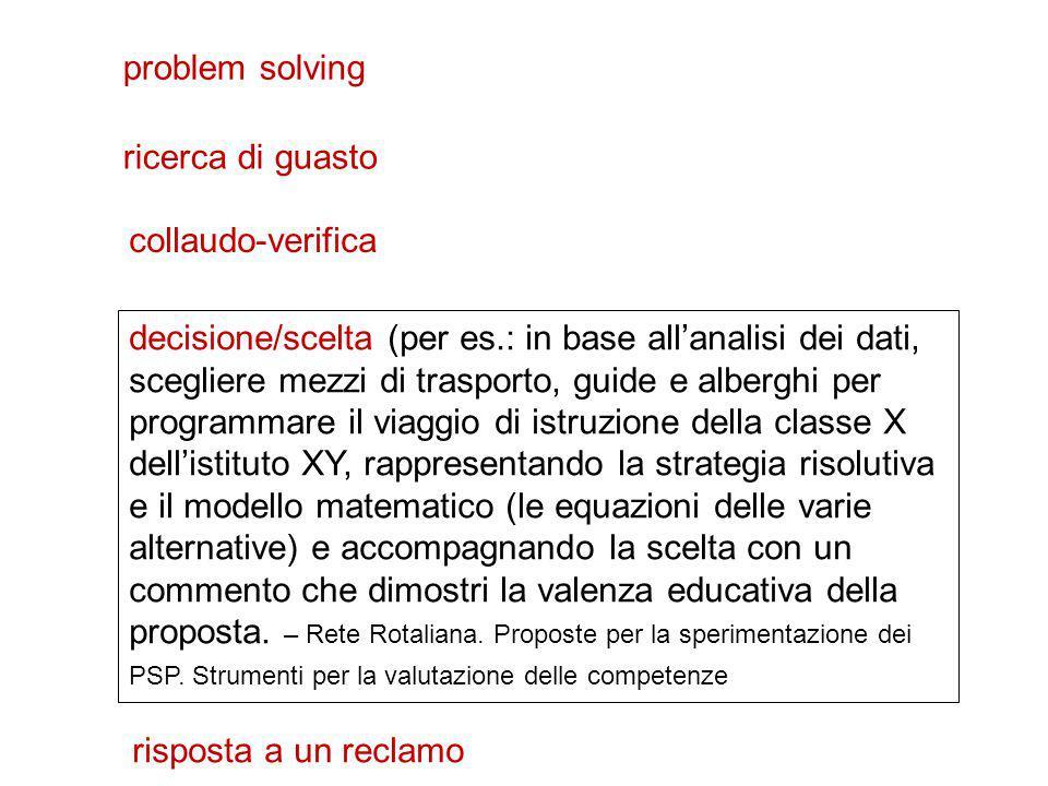 problem solving decisione/scelta (per es.: in base all'analisi dei dati, scegliere mezzi di trasporto, guide e alberghi per programmare il viaggio di