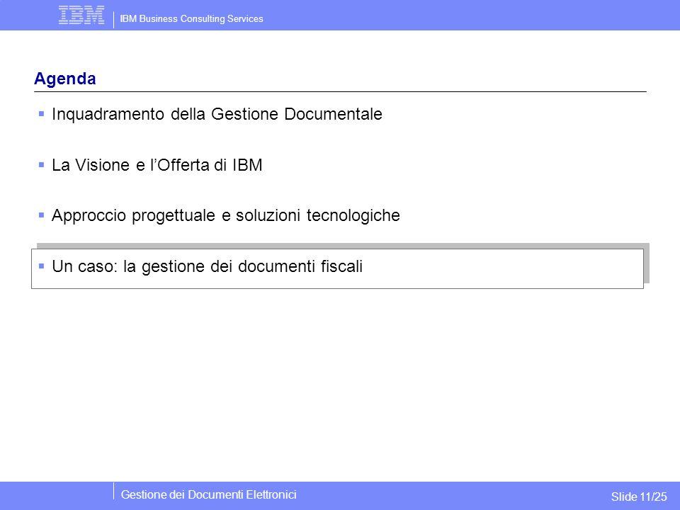 IBM Business Consulting Services Gestione dei Documenti Elettronici Slide 11/25 Agenda  Inquadramento della Gestione Documentale  La Visione e l'Off