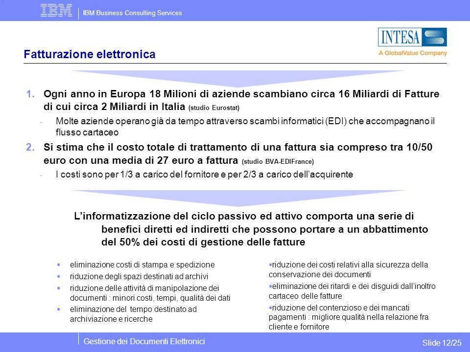 IBM Business Consulting Services Gestione dei Documenti Elettronici Slide 12/25 Fatturazione elettronica 1.Ogni anno in Europa 18 Milioni di aziende s
