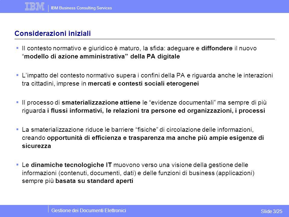 IBM Business Consulting Services Gestione dei Documenti Elettronici Slide 3/25 Considerazioni iniziali  Il contesto normativo e giuridico è maturo, l