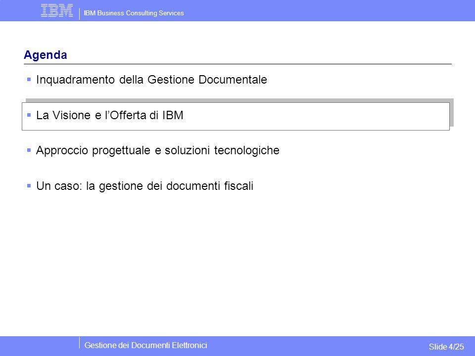 IBM Business Consulting Services Gestione dei Documenti Elettronici Slide 4/25 Agenda  Inquadramento della Gestione Documentale  La Visione e l'Offe