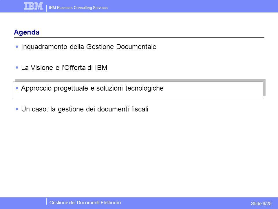 IBM Business Consulting Services Gestione dei Documenti Elettronici Slide 6/25 Agenda  Inquadramento della Gestione Documentale  La Visione e l'Offe