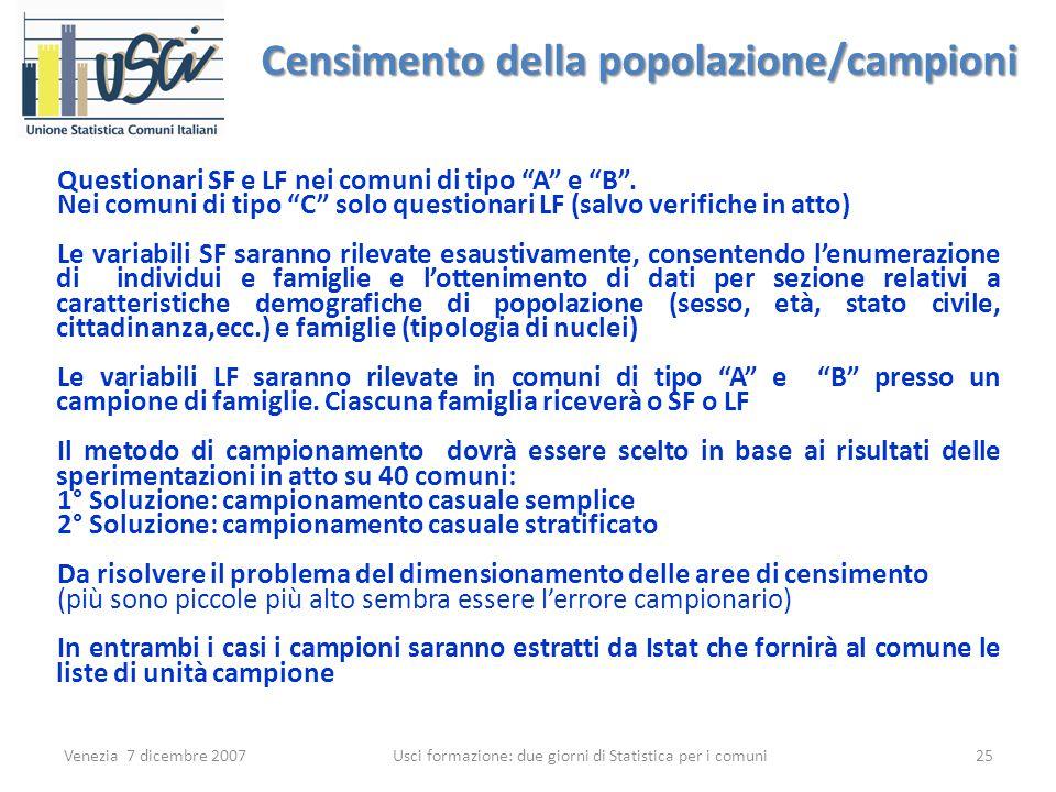 Venezia 7 dicembre 2007 Usci formazione: due giorni di Statistica per i comuni 25 Censimento della popolazione/campioni Questionari SF e LF nei comuni di tipo A e B .