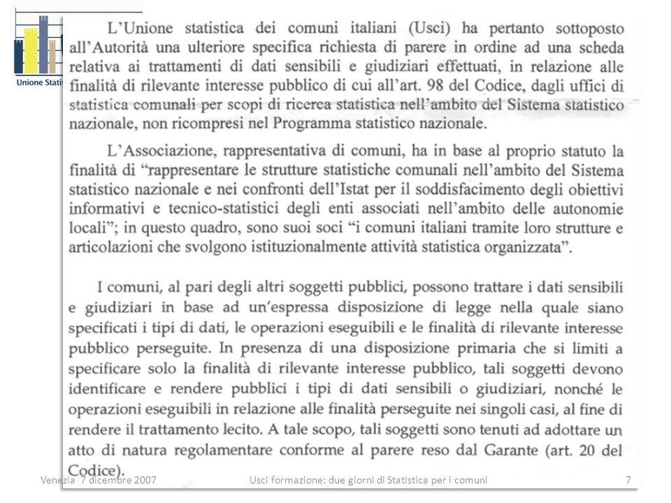 Venezia 7 dicembre 20077 Usci formazione: due giorni di Statistica per i comuni