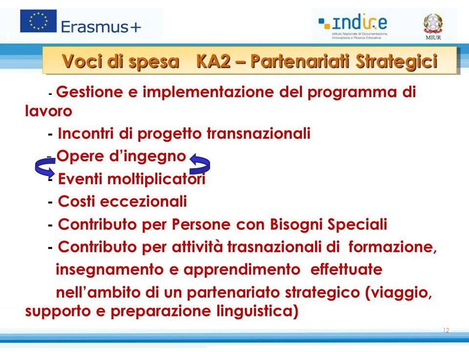 12 - Gestione e implementazione del programma di lavoro - Incontri di progetto transnazionali - Opere d'ingegno - Eventi moltiplicatori - Costi eccezi