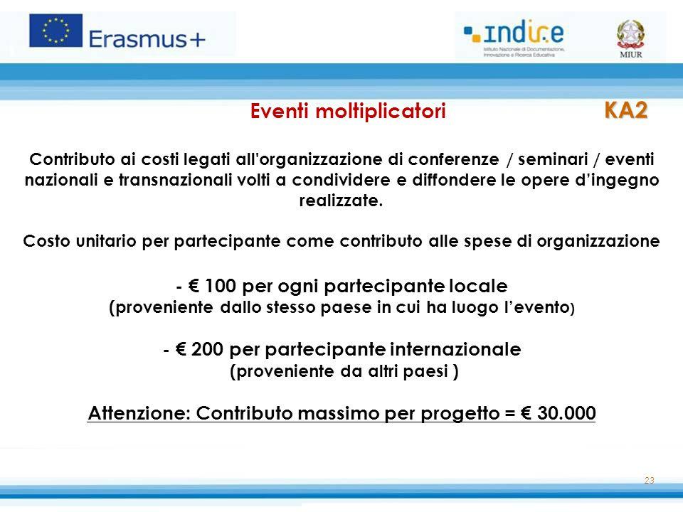 23 KA2 Eventi moltiplicatori KA2 Contributo ai costi legati all'organizzazione di conferenze / seminari / eventi nazionali e transnazionali volti a co