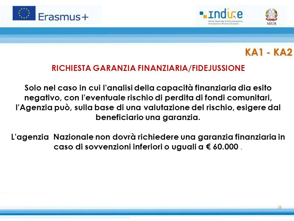 38 RICHIESTA GARANZIA FINANZIARIA/FIDEJUSSIONE Solo nel caso in cui l'analisi della capacità finanziaria dia esito negativo, con l'eventuale rischio d