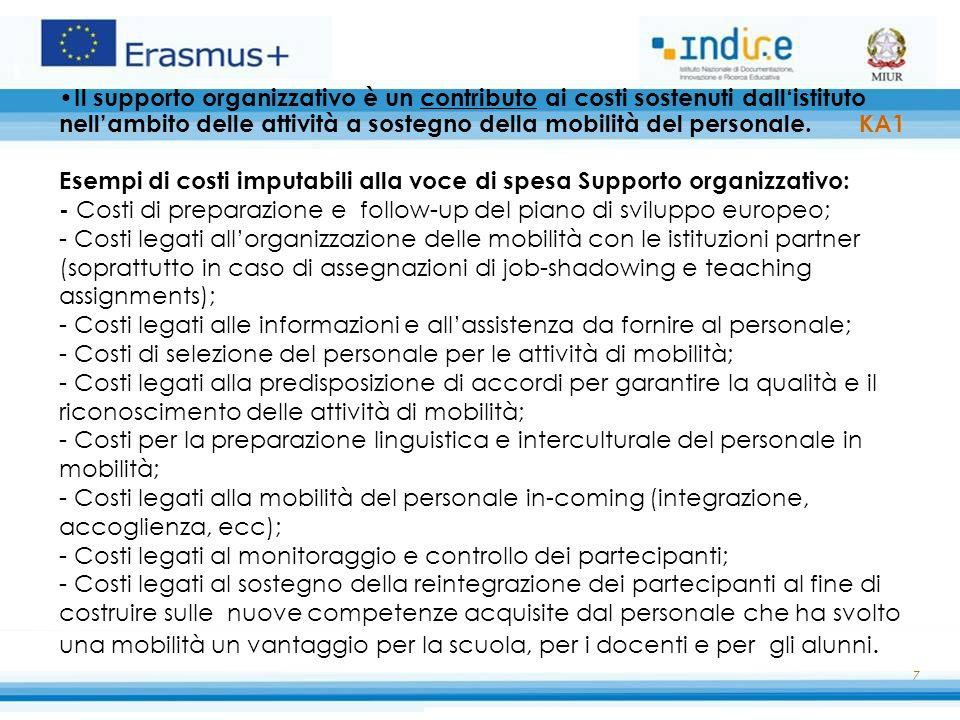 8 Supporto agli individui Contributo calcolato sulla base di scale di costi unitari per paese e per durata di permanenza all'estero volto a coprire i costi di soggiorno dei partecipanti (es.