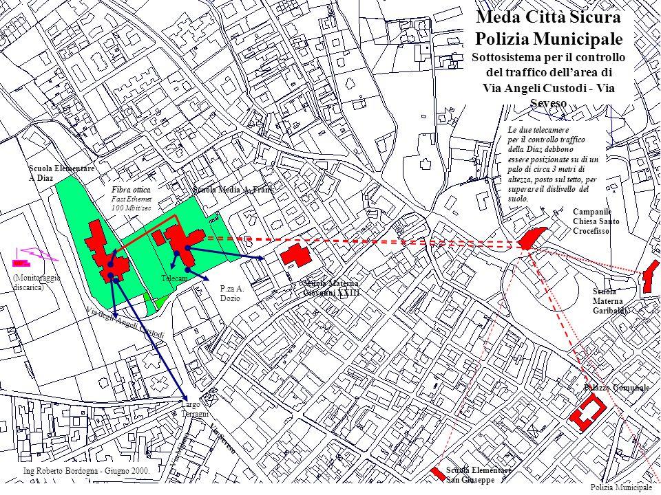 Meda Città Sicura Polizia Municipale Sottosistema per il controllo del traffico dell'area di Via Angeli Custodi - Via Seveso Ing Roberto Bordogna - Giugno 2000.