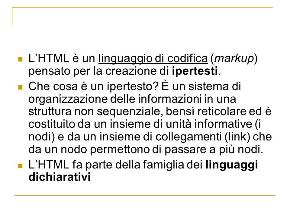 L'HTML è un linguaggio di codifica (markup) pensato per la creazione di ipertesti.