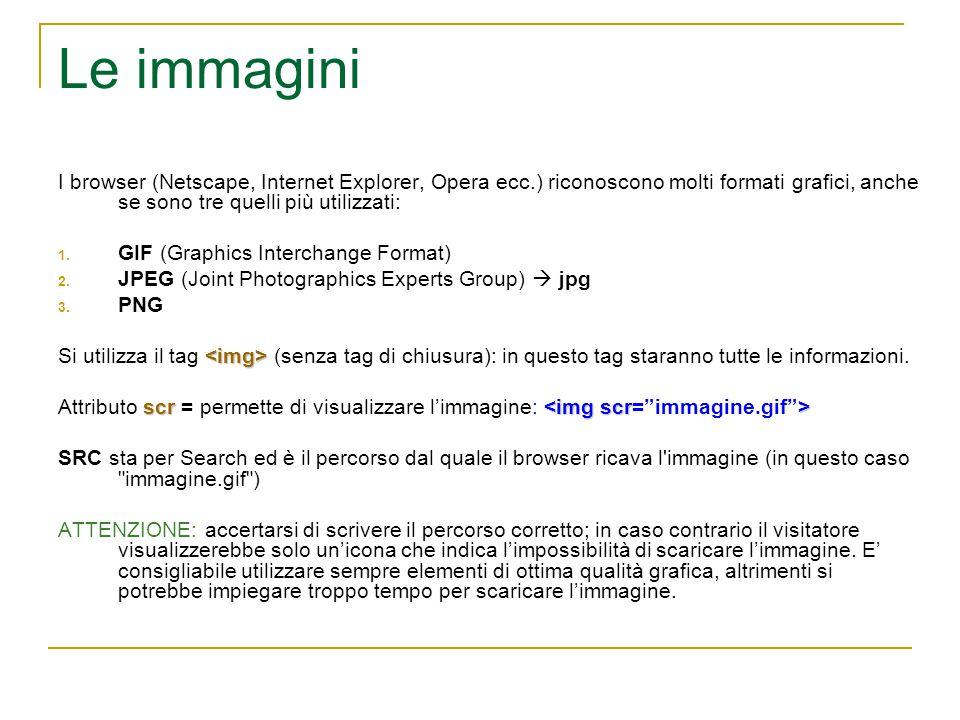 Le immagini I browser (Netscape, Internet Explorer, Opera ecc.) riconoscono molti formati grafici, anche se sono tre quelli più utilizzati: 1.