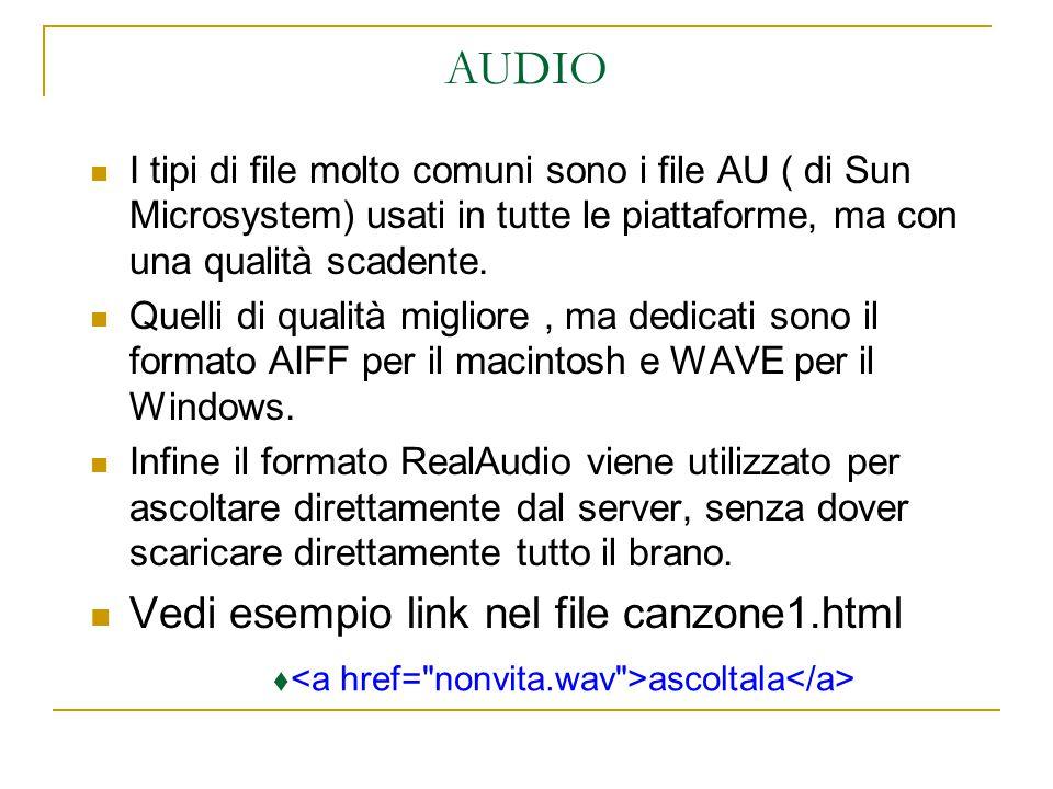 AUDIO I tipi di file molto comuni sono i file AU ( di Sun Microsystem) usati in tutte le piattaforme, ma con una qualità scadente.