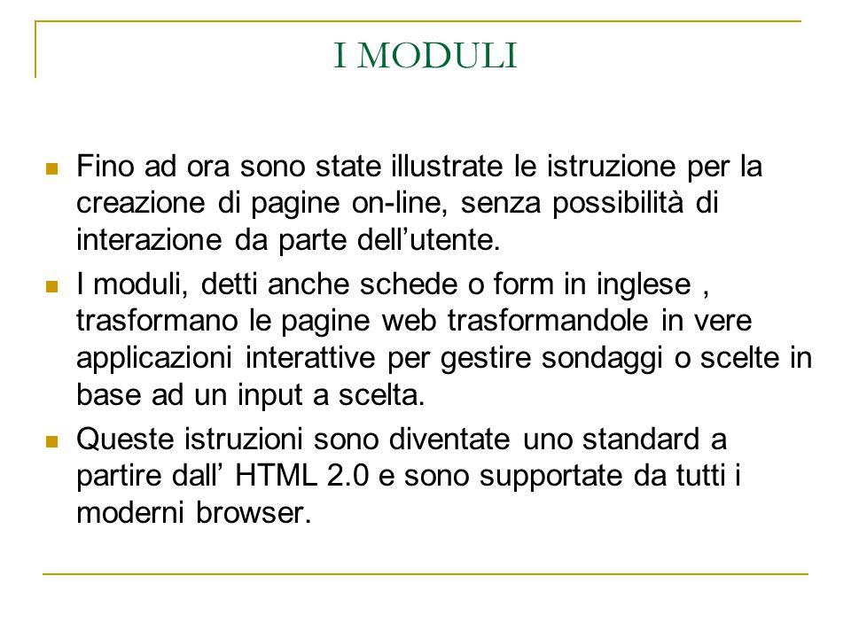 I MODULI Fino ad ora sono state illustrate le istruzione per la creazione di pagine on-line, senza possibilità di interazione da parte dell'utente.
