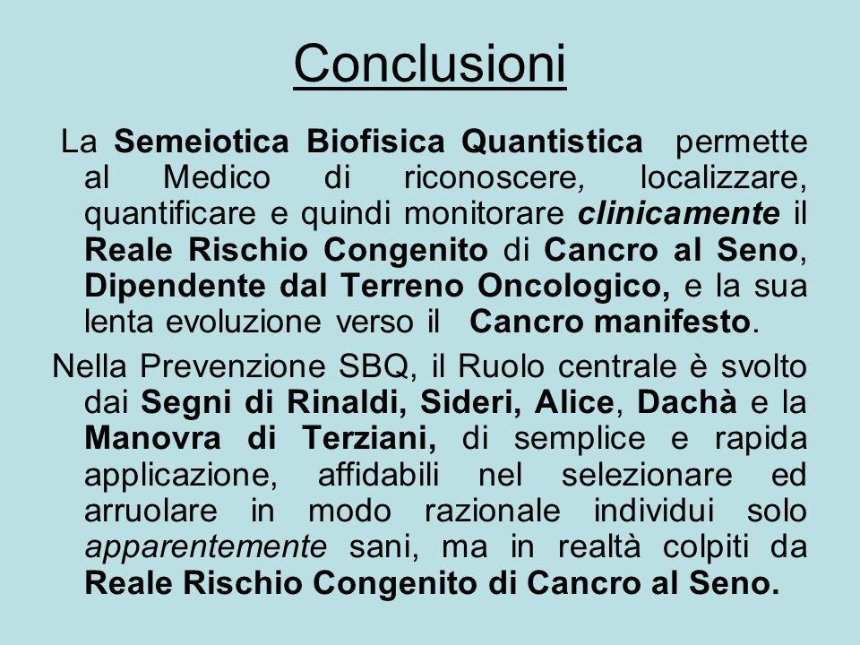 Conclusioni La Semeiotica Biofisica Quantistica permette al Medico di riconoscere, localizzare, quantificare e quindi monitorare clinicamente il Reale