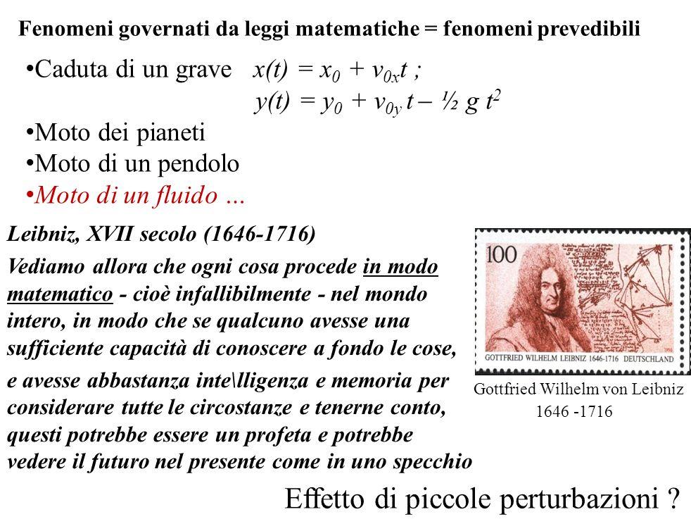 Fenomeni governati da leggi matematiche = fenomeni prevedibili Leibniz, XVII secolo (1646-1716) Vediamo allora che ogni cosa procede in modo matematic